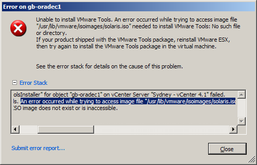Can't find VMware Tools!